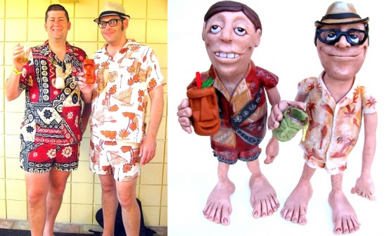 Drew & Tony, matching cabana wear photo & statue