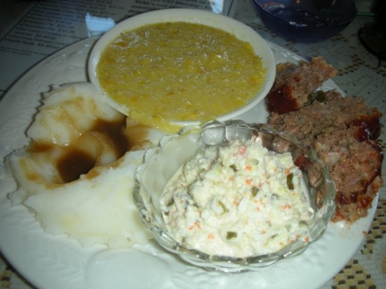 """Meat & Three"" meatloaf, sweet coleslaw, creamed corn and mashed"